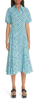 Michael Kors Madras Silk Crepe de Chine Midi Dress