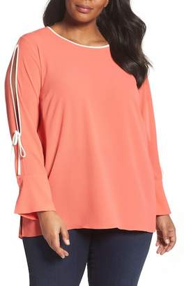 Vince Camuto Bell Cuff Split Sleeve Shirt (Plus Size)