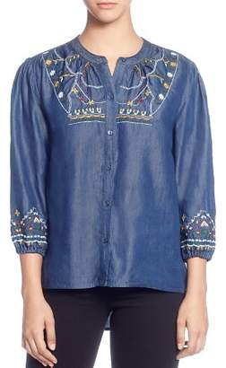 Catherine Malandrino Embroidered Button-Down Peasant Top