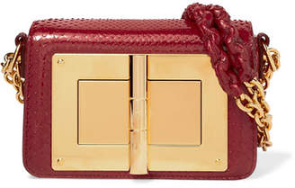Tom Ford Natalia Small Python Shoulder Bag - Claret