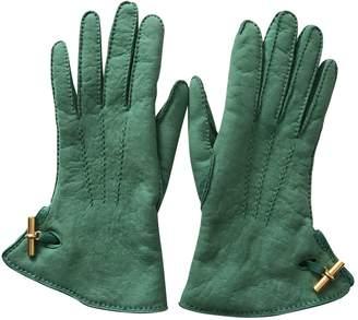 Hermes Green Suede Gloves