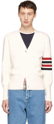 Thom Browne White Milano Stitch Four Bar Cardigan