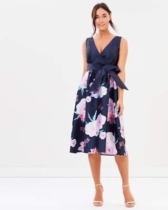 Dorothy Perkins Floral Border Bow Belt Prom Dress
