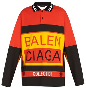 Balenciaga Long Sleeved Logo Print Cotton Polo Shirt - Mens - Orange