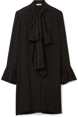 MICHAEL Michael Kors Pussy-bow Flocked Crepe Mini Dress - Black