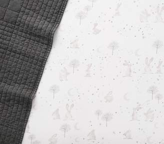 Pottery Barn Kids Organic Flannel Forest Bunny Crib Fitted Sheet, Dusty Lavender