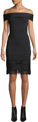 Sachin + Babi Serena Off-Shoulder Fringe Dress