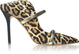 Malone Souliers By Roy Luwolt Beige Leopard Printed Elaphe and Platinum Nappa Leather Maureen High Heel Mules