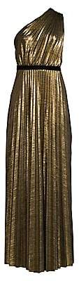 BCBGMAXAZRIA Women's Metallic One-Shoulder Pleated Dress