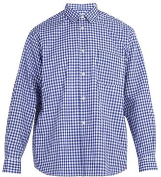 Comme des Garcons Forever Point Collar Cotton Gingham Shirt - Mens - Blue