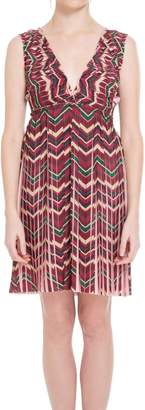 Max Studio Pleated Printed Habutai Dress