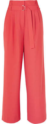 Tibi Stella Belted Tropical Wool Pants - Red