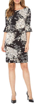 Connected Apparel Elbow Sleeve Floral Sheath Dress