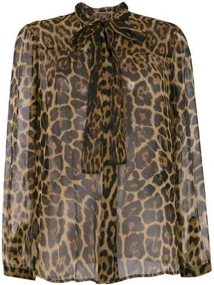 Saint Laurent sheer leopard print blouse