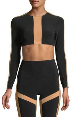 Norma Kamali Spliced Bracelet-Sleeve Crop Top