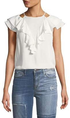 Parker Terry High-Neck Sleeveless Silk Top