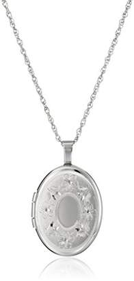 Sterling Silver Oval Hand-Engraved Locket Necklace