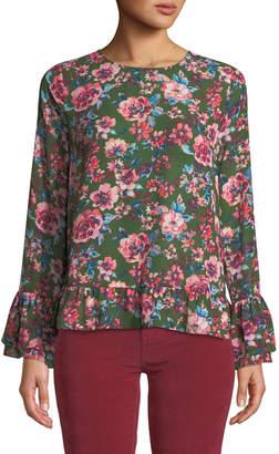 KUT from the Kloth Trixy Flounce-Trim Floral Chiffon Blouse