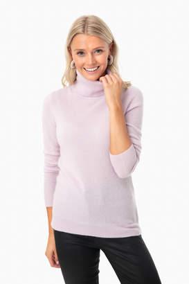 White + Warren Gray Heather Essential Cashmere Turtleneck Sweater