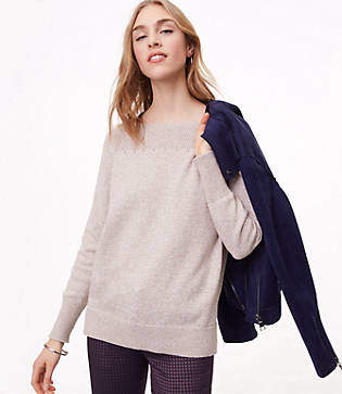 LOFT Rib Trim Boatneck Sweater