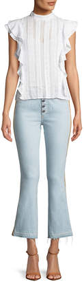 Veronica Beard Carolyn Baby Boot Cropped Jeans with Tux Side