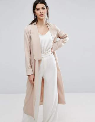 Neon Rose Relaxed Duster Coat In Hammered Satin $119 thestylecure.com