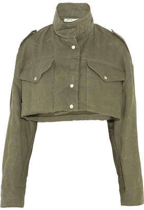 Cropped Canvas Jacket - Army green