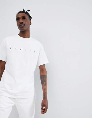 Parlez t-shirt with embroidered multi color chest logo in white