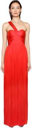 Maria Lucia Hohan One Shoulder Laminated Silk Plisse Gown