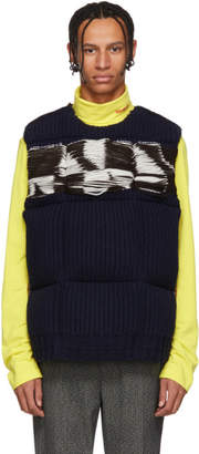 Calvin Klein Brown and Navy Jacquard Down Vest
