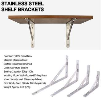 HURRISE 1 Pair Stainless Steel L-Shaped Wall-Mounted Shelf Brackets Support Frame Home Hardware 10inch