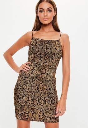 Missguided Gold Animal Plisse Strappy Mini Dress