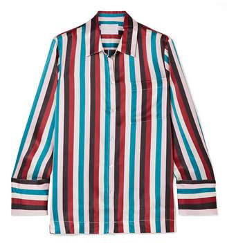 ASCENO - Striped Silk-satin Pajama Shirt - Turquoise