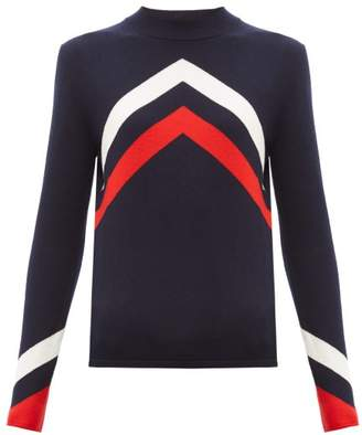Perfect Moment Chevron Intarsia Merino Wool Sweater - Womens - Navy