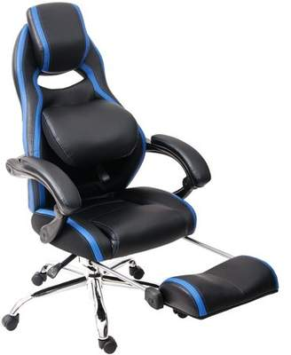 Merax Inno Series Racing Style High Back Gaming Chair with Adjustable Pivoting Lumbar and Padded Footrest (Blue)