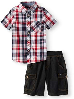 Phat Farm Short Sleeve Plaid Button Up Top with Twill Short 2 Piece Set (Little Boys)