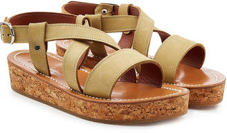 K. Jacques Leather Sandals with Espadrille Wedge
