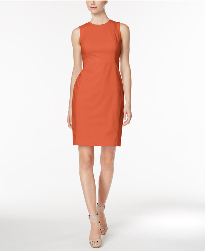 Calvin Klein Stretch Canvas Sheath Dress