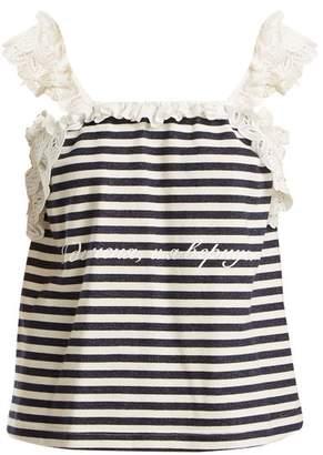 Natasha Zinko Floral lace-trimmed stripe top
