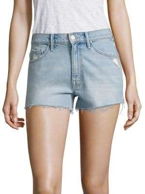 Mother Super Zip High-Rise Cut-Off Denim Shorts