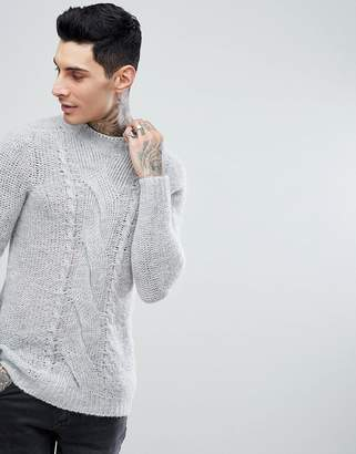 Asos Cable Knit Mohair Wool Blend Jumper In Grey