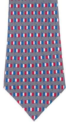 Hermes French Flag Print Silk Tie