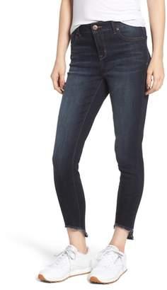 1822 Denim Frayed Curve Hem Skinny Jeans