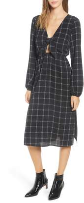 Mimichica Mimi Chica Plaid Tie Front Midi Dress