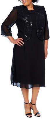 MAYA BROOKE Maya Brooke Sequin Trim Jacket Dress - Plus