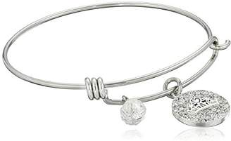 """Disney Stainless Steel Catch Bangle with Plated Crystal Tiara """"Royal and Loyal"""""""