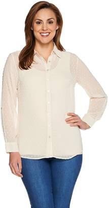 Denim & Co. Swiss Dot Tunic Shirt with Knit Tank Set