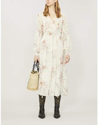 LoveShackFancy Leah ruched floral-print silk-chiffon midi dress