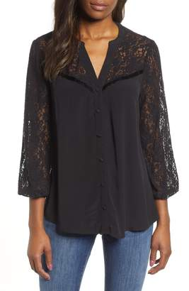 Wit & Wisdom Lace Sleeve Blouse