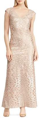 Ralph Lauren Embroidered Mesh Gown